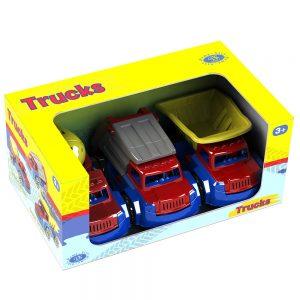 комплект 3 камиончета самосвал бетоновоз и боклуджийски камион детски играчки и подаръци