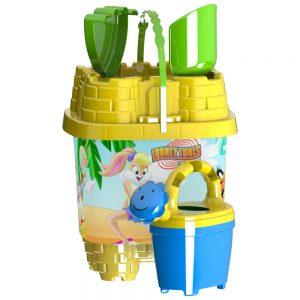 Детска плажна кофичка във форма на замък със декорацияШантави рисунки