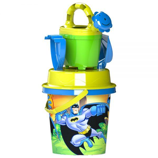 Детски плажен комплект Батман - Кофичка Батман, Лейка, Сито, Гребло и Лопатка за плаж и пясък