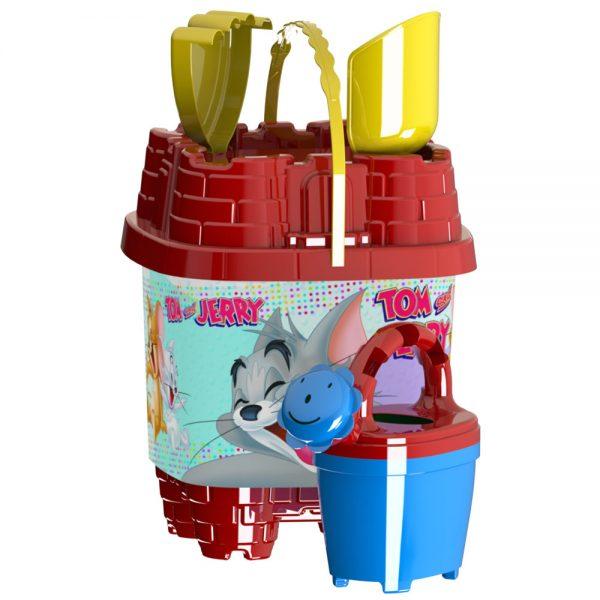 Детски плажни играчки с кофичка замък със снимка от Том и Джери