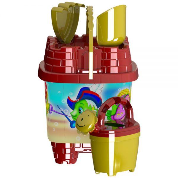 Детски плажни играччки - Кофички във форма на замък с лейка лотка и гребно за игра с пясък