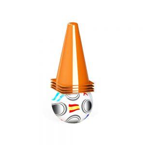 Детски футболен комплект за деца с футболна топка и 4 конуси