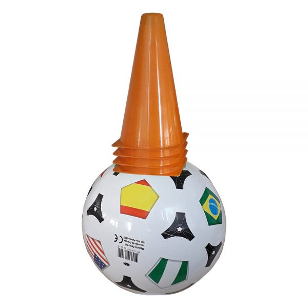 Спортни и футблолни играчки - Комплект от топка и конуси за футбол и игра на открито