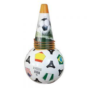Футболен комплект за деца Dema Stil от 4 цветни конуси и топка 23 см в мрежа