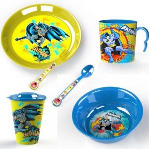 Детски прибори за хранене Батман чинии чаши и прибори онлайн магазин