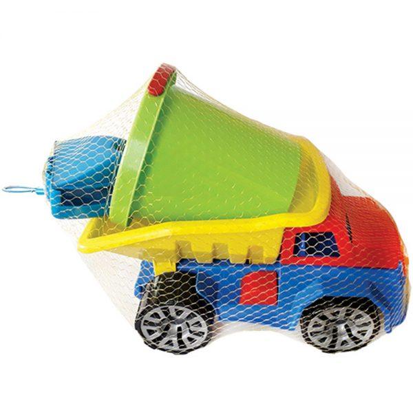 Комплект от детско камионче, кофичка и аксесоари за плаж - Играчки за пясък