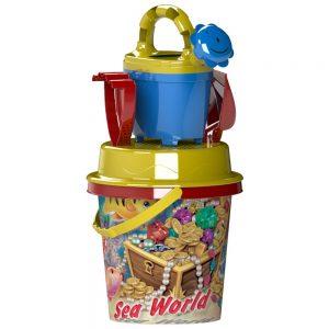 Детски плажен комплект за плаж и игра с пясък от 5 части Sea World кофичка