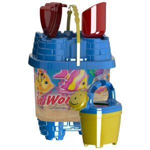 Плажен комплект с кофичка тип Замък за игра с пясък и морската вода